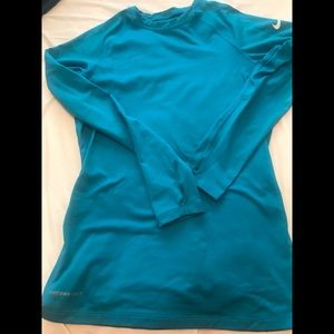 Women's Medium -Nike Pro Combat Teal Fitted Top